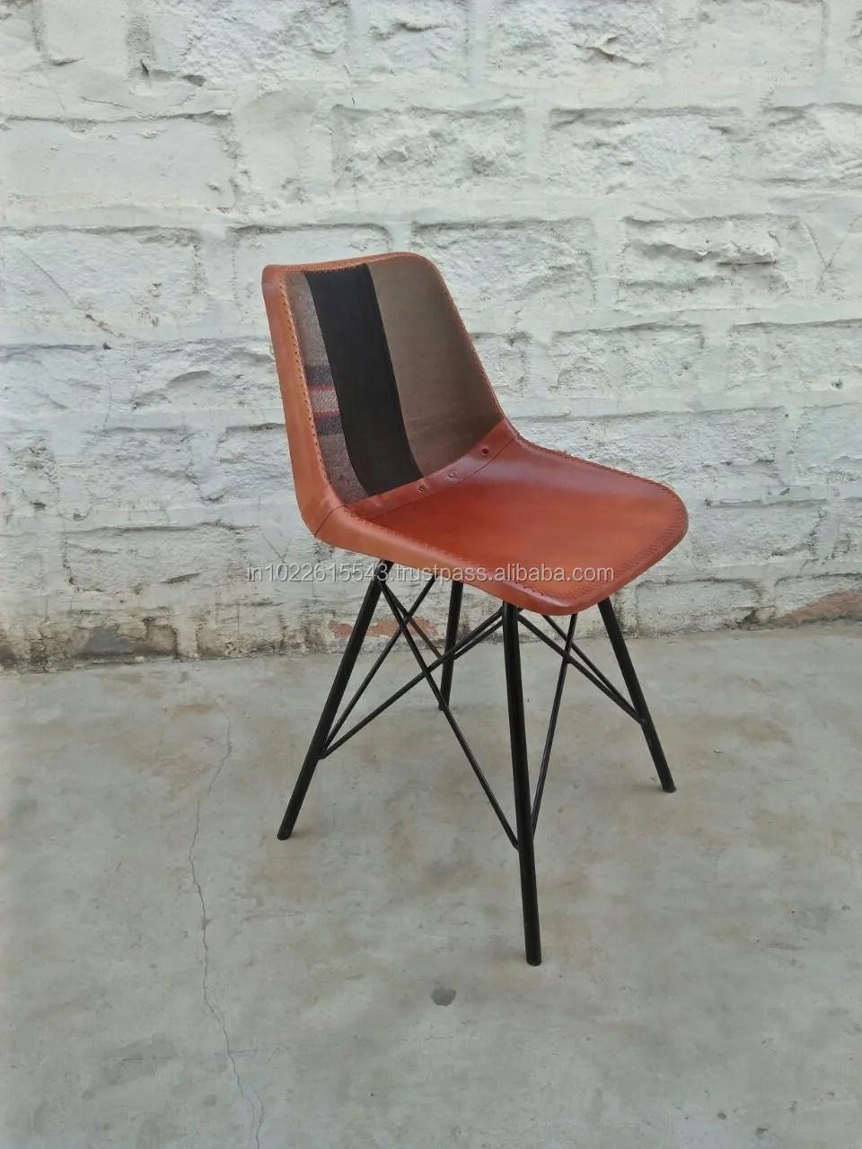 chaise de salle a manger en fer et cuir style industriel vintage buy genuine leather dining chair vintage industrial cafe chair antique dining