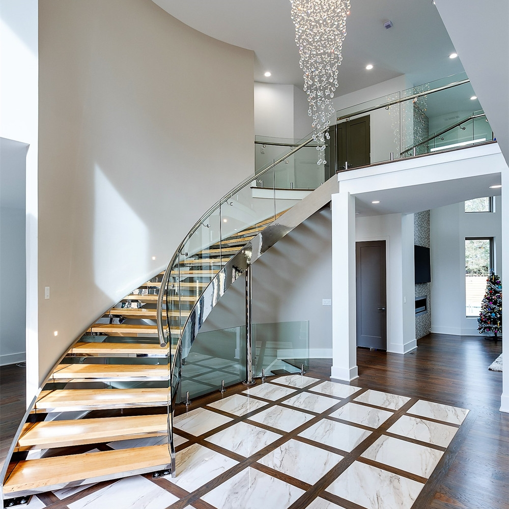 Round Staircase Curved Woden Stair With Glass Railing Side Mounted | Curved Glass Stair Railing | Residential Glass | Commercial Glass | Band Glass | Walnut | Frameless Glass