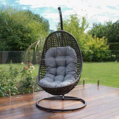 Patio Hanging Egg Chair With Umbrella Steel Frame Power Coated Synthetic Rattan Wicker Outdoor Swing Black Color