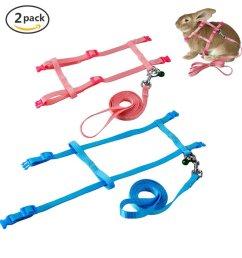 get quotations persuper 2 pack pet rabbit harness leash for soft nylon running [ 1000 x 1000 Pixel ]
