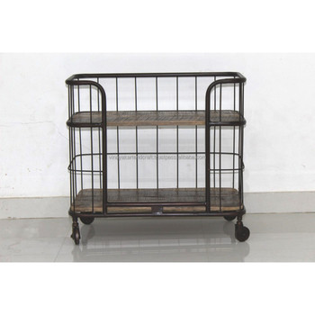 kitchen cart on wheels remodeling manassas va vintage industrial trolley antique serving utility outdoor trolleys