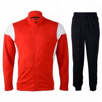 Micro twill track suit. Zipper up jacket and set style red micro twill track suit