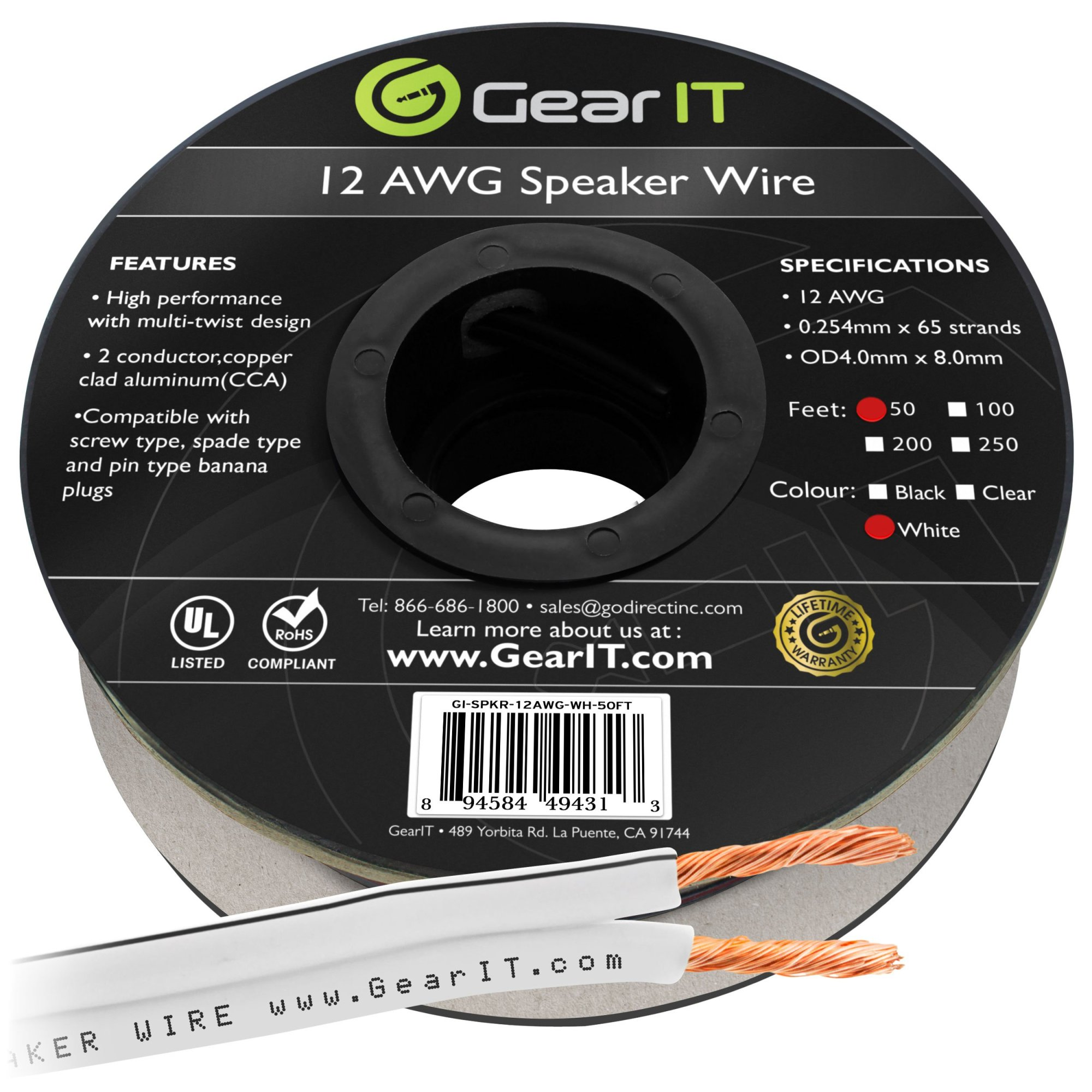 hight resolution of 12awg speaker wire gearit pro series 12 awg gauge speaker wire cable 50 feet 15 24 meters great use for home theater speakers and car speakers white