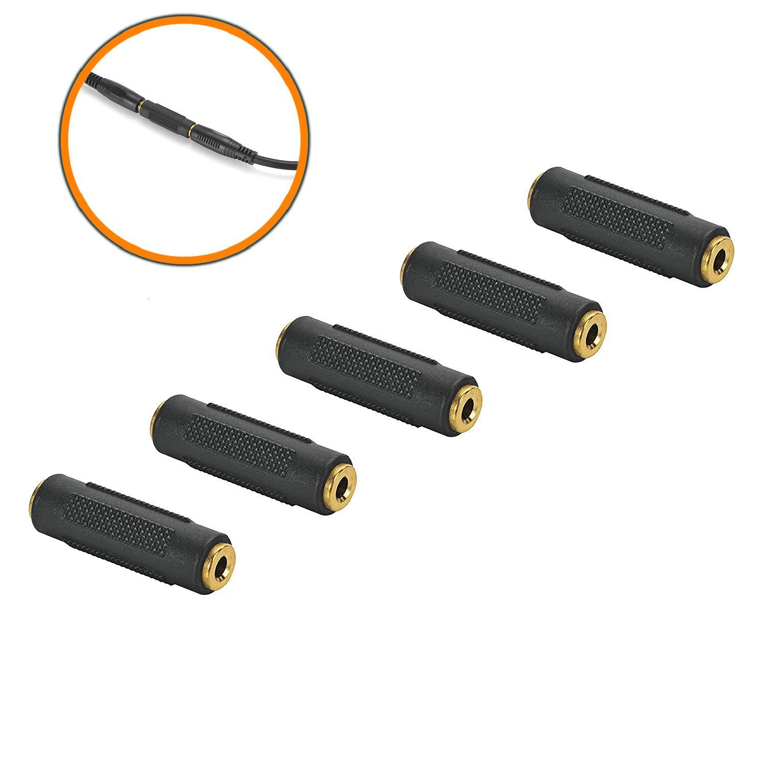 hight resolution of get quotations 3 5mm f f stereo coupler 5 pack gold plated 3 5mm stereo jack