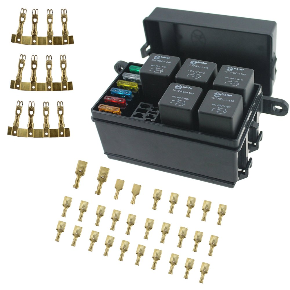 medium resolution of get quotations iztor universal 6 way blade fuse holder box with spade terminals and fuse 5pcs 4pin