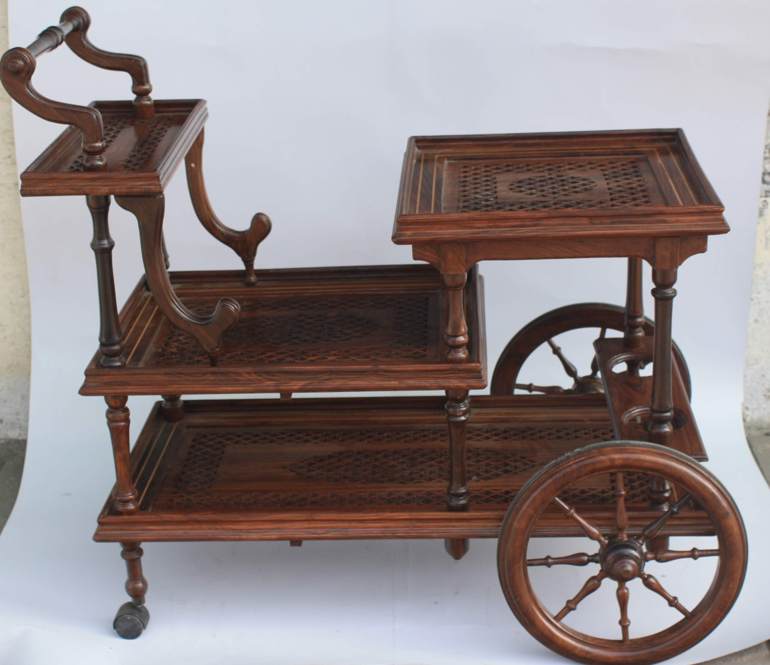 antique tea trolley carving