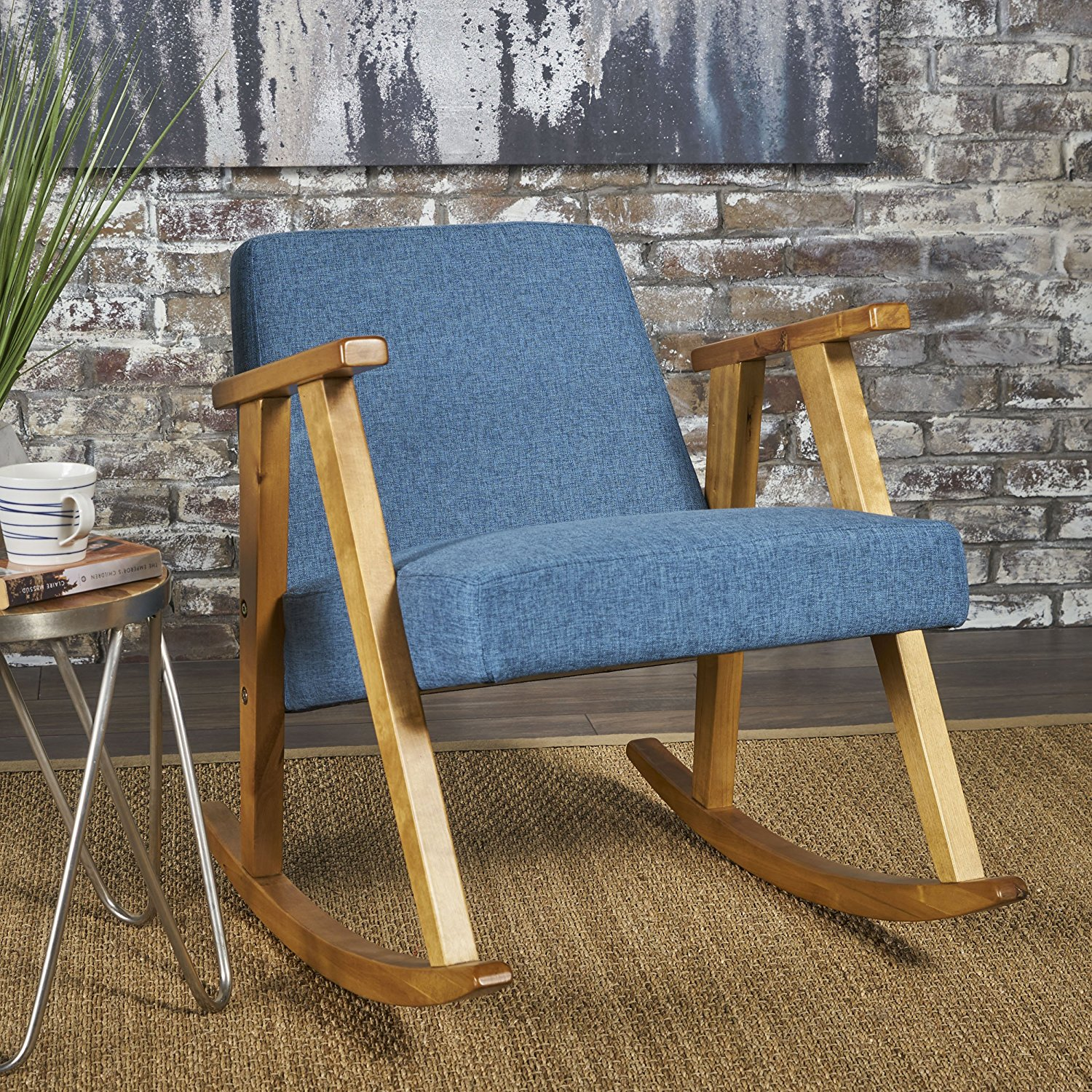 cheap rocking chair office chairs no arms modern find get quotations nero mid century danish styling upholstered in muted blue fabric