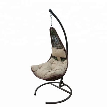 hanging rattan chair mesh mid back popular egg shape with cushion headrest for bedroom