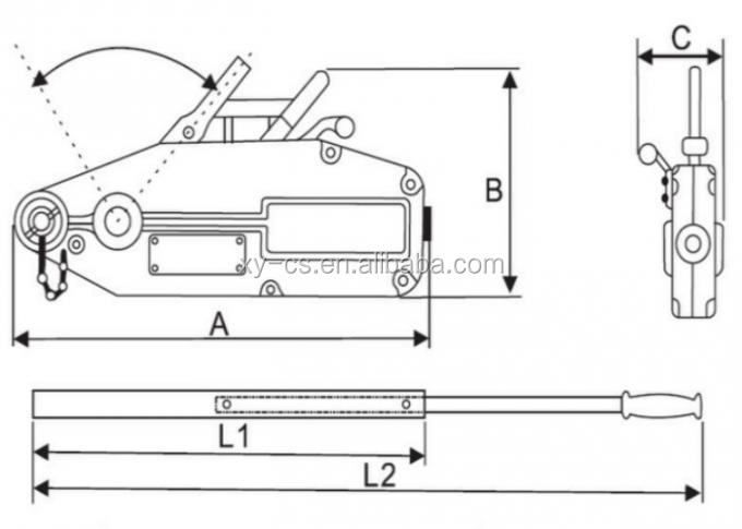 3200kg Manual Wire Rope Winch Hand Operated Wire Rope