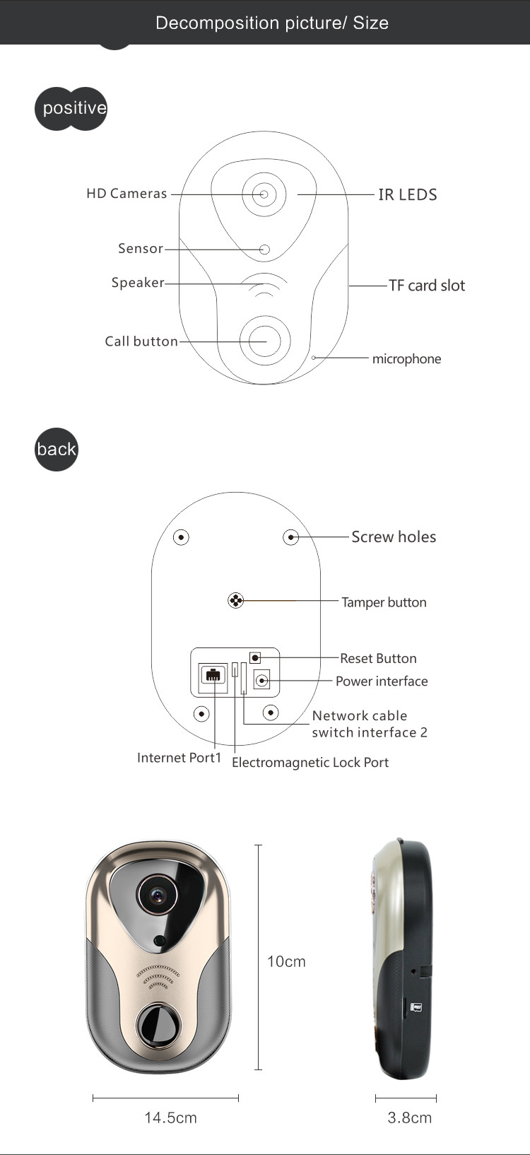 Home Visual Doorbell Support Ir Night Vision Motion