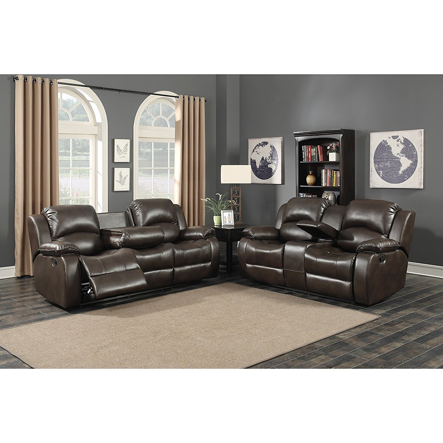 ryker reclining sofa and loveseat 2 piece set black n grey corner cheap living room recliners find deals on get quotations ac pacific samara brown with 4