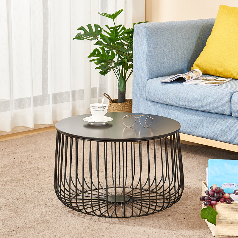 home garden round black metal wire basket wooden top side table with storage buy side table wooden side table metal side table product on