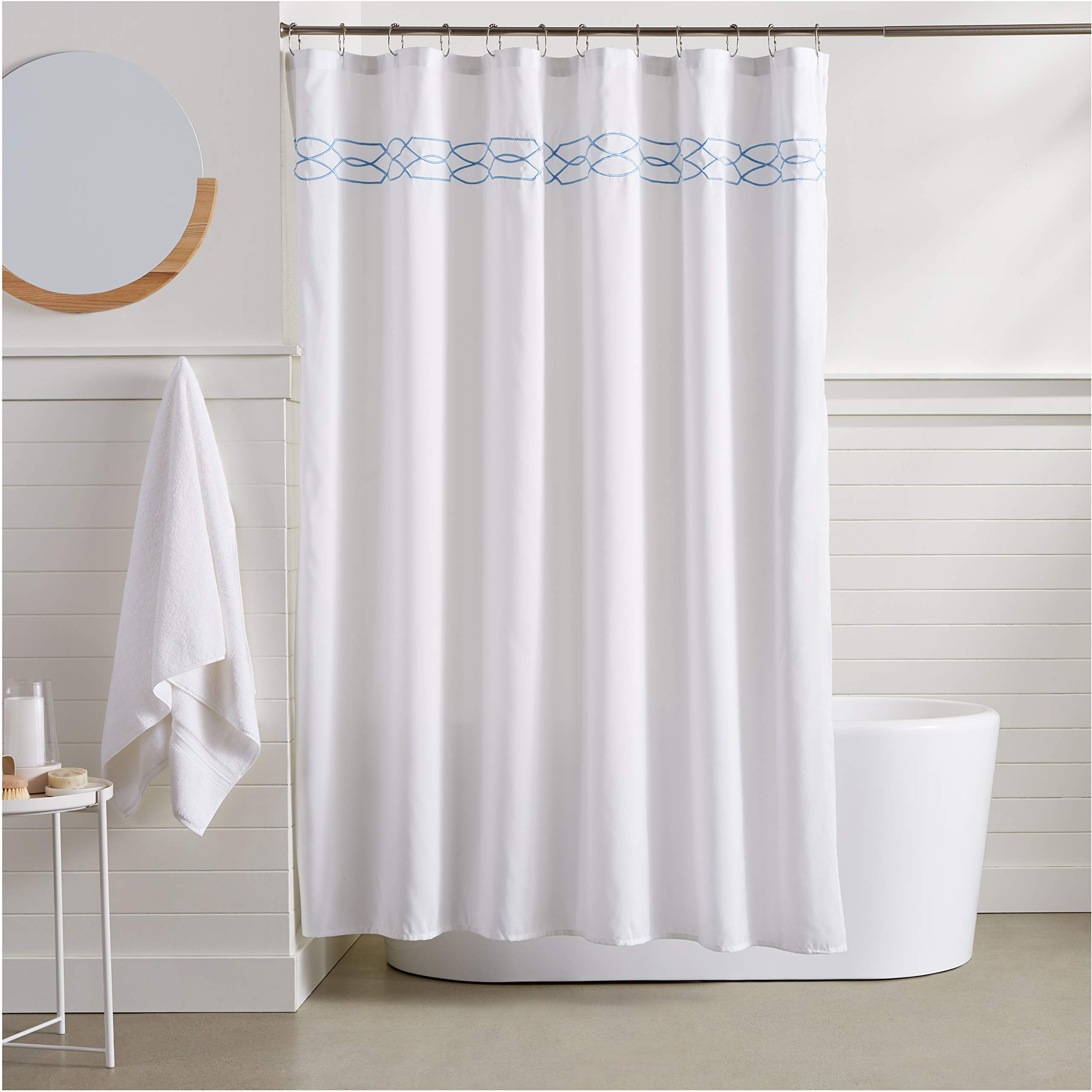 amazon hot selling manufacturer light blue trellis embroidered shower curtain mildew resistant shower curtains for bathroom buy all shower