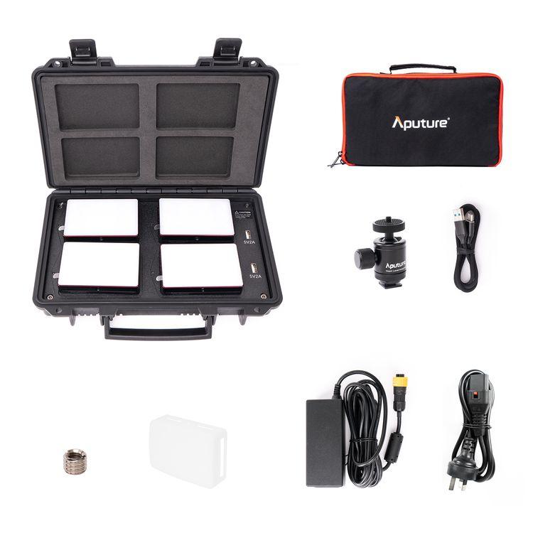 aputure mc 4 light kit mini 3200k 6500k portable led light with hsi cct fx lighting modes for rgb video photography lighting buy aputure mc 4 light