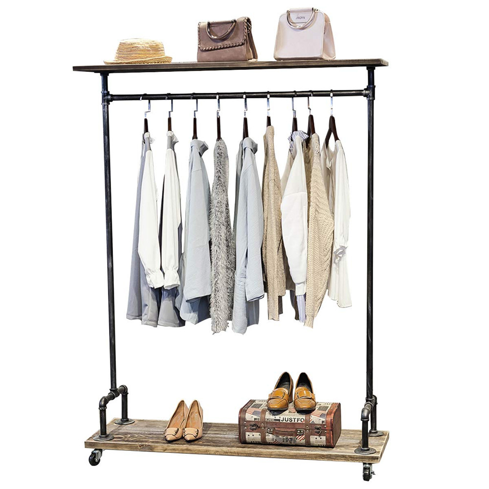 high quality decor retro style metal industrial pipe clothing rack on wheels rolling iron garment racks with shelves buy pipe clothing rack iron