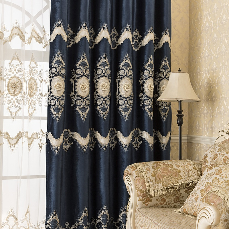 royal blue velvet fabric double layer lace embroider blackout fabric window curtain panel for living room bedroom buy velvet blackout curtain velvet