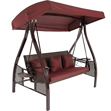 deluxe outdoor patio swing with heavy duty steel frame and canopy porch swing glider outdoor chair top tilt uv resistant shade buy covered patio