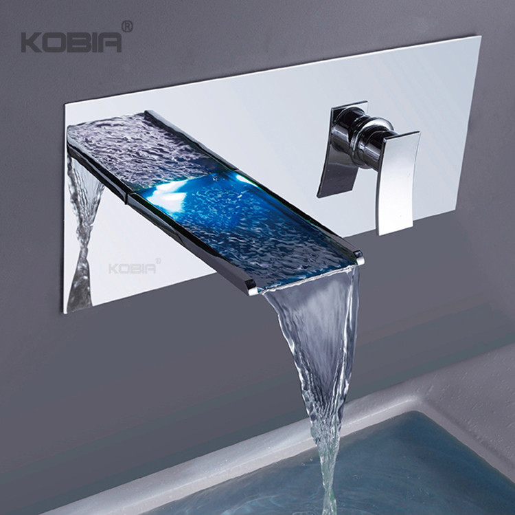 new arrival led light waterfall sink faucet 3 color change chrome brass wall mounted shower bathroom led faucet buy led faucet faucet led led light