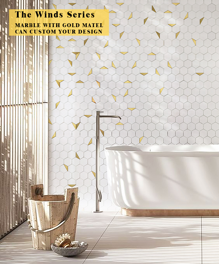 luxury hexagon mosaic bathroom tile kitchen backsplash thassos white stone gold metal copper brass waterjet marble mosaic tile buy waterjet mosaic