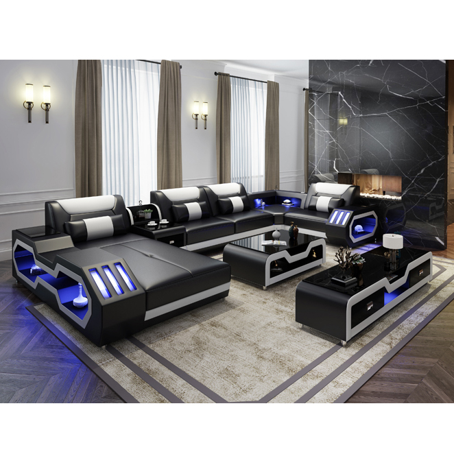 modern home theater special use sofa luxury living room leather sofa with led lights buy leather sofa with led lights modern home theater special