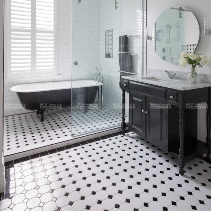 in stock 4 white mix black dot ceramic octagon mosaic floor tile for bathroom office design buy octagon mosaic floor tile white octagon mosaic