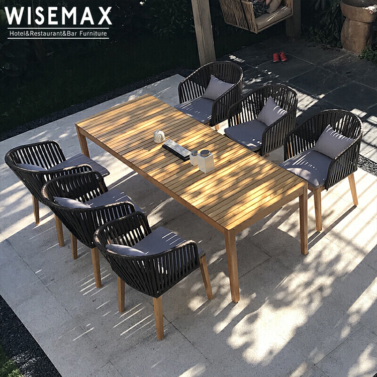 modern design outdoor restaurant weather resistant modern teak wood outdoor dining rope woven patio chairs and table buy teak wood chair wooden