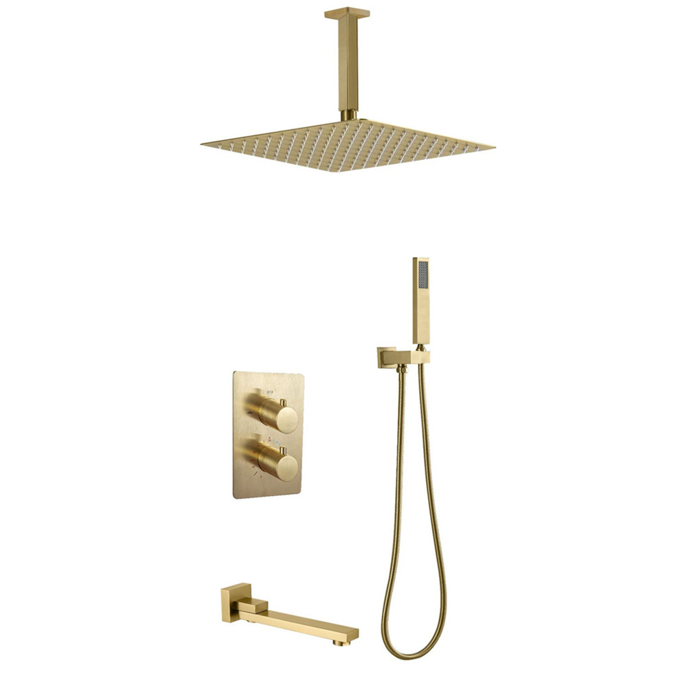 ceiling mounted shower head set thermostatic brushed gold shower systems with tub spout buy thermostatic shower set ceiling mounted shower brushed