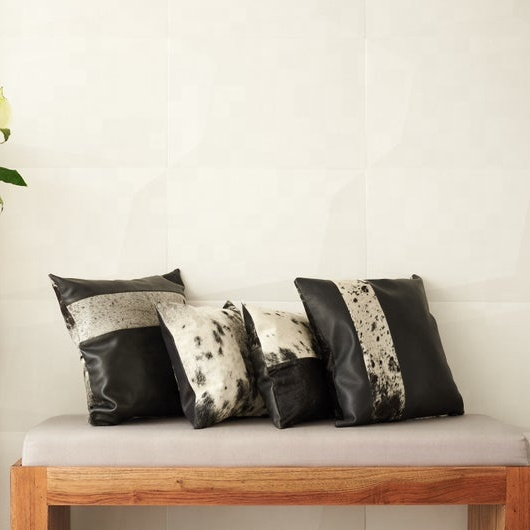 genuine cowhide leather cushion cover pillow case home decor 45 45 cm buy patchwork cowhide cowhide cushion covers home decoration product on