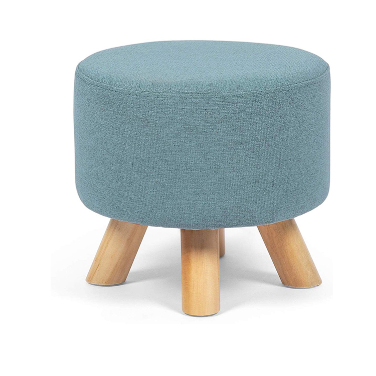 home decoration soft small soft pouf seat four wood legs round ottoman stool buy round ottoman stool pouf ottoman ottoman poufs footstool product on