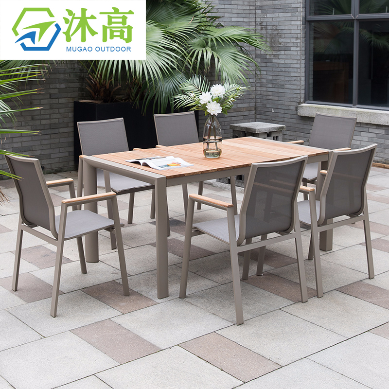 most popular batyline mesh outdoor garden sling dining chairs and teak wood top table outdoor patio furniture sets buy patio furniture sets outdoor