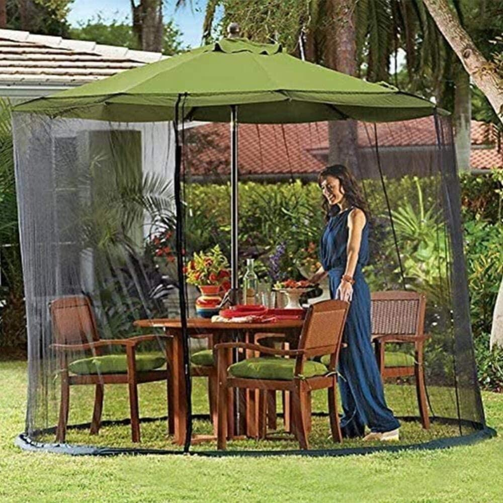 patio umbrella mosquito mesh netting screen with zipper door and adjustable rope fits 7 5 10ft outdoor umbrellas buy umbrella mesh screen umbrella