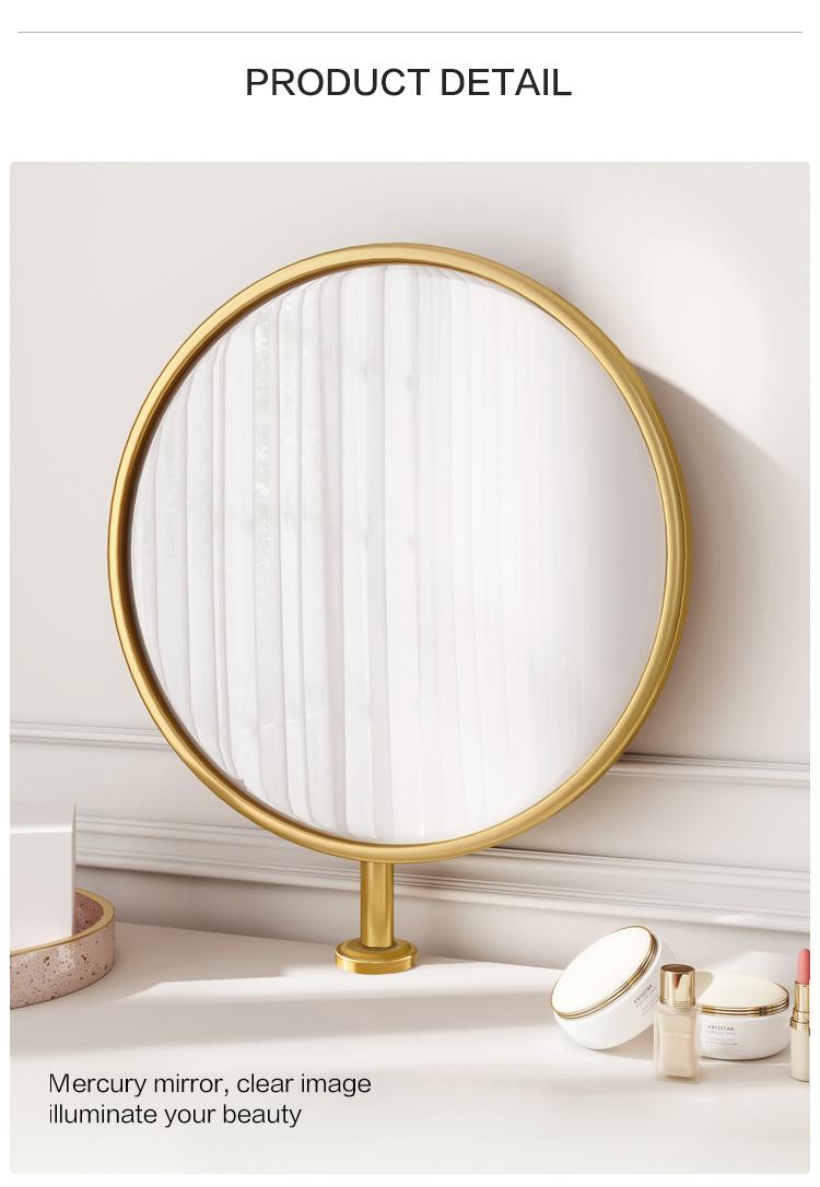Linsy Mini Simple Modern White Metal Gold Marble Make Up Vanity Table Set Dresser Cheap Dressing Table EK1C