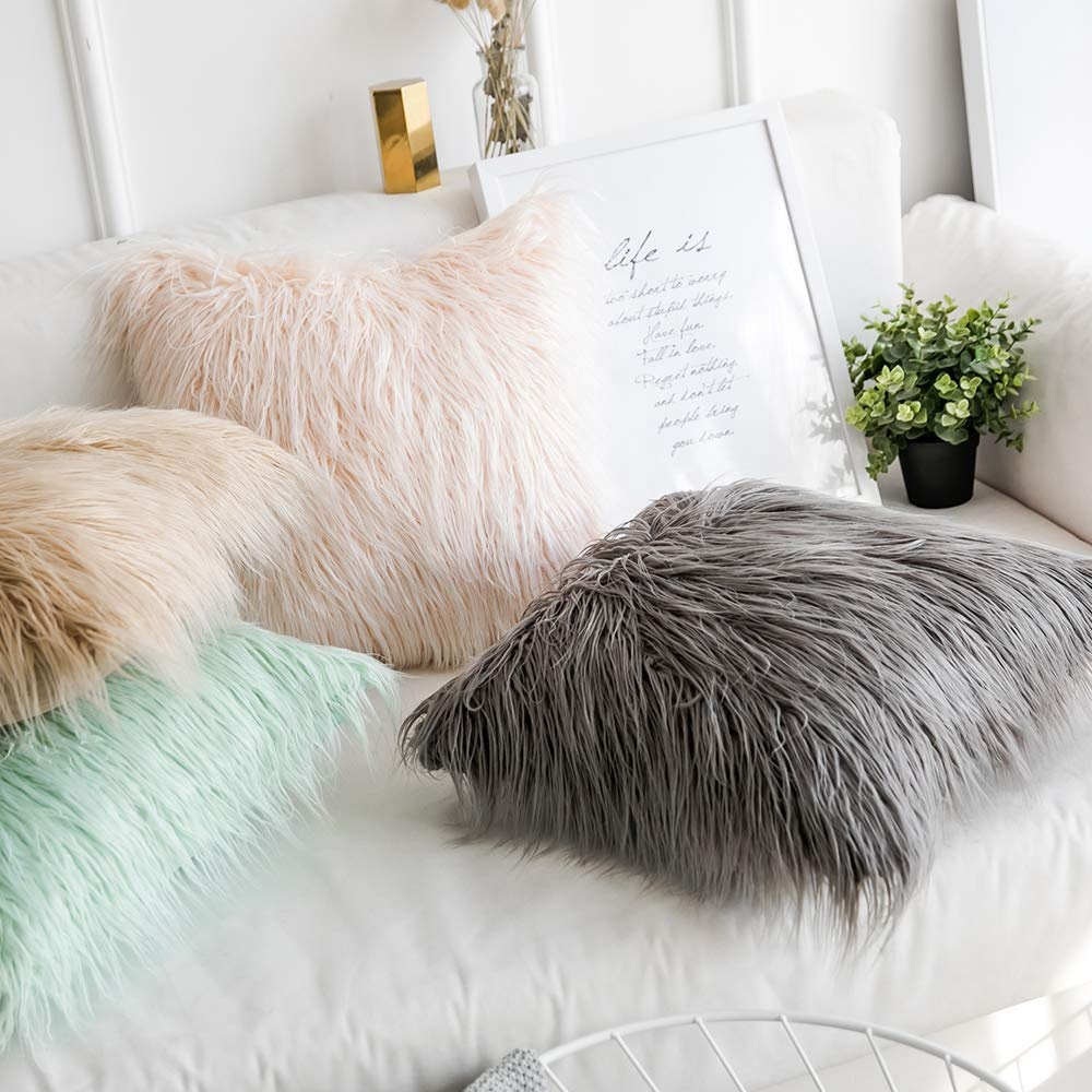 high quality mongolian fur pillow fur cushion grey fur pillow for living room bedroom 18 x 18 inch 45 x 45 cm buy mongolian fur pillow cushion cover fur cushion case for