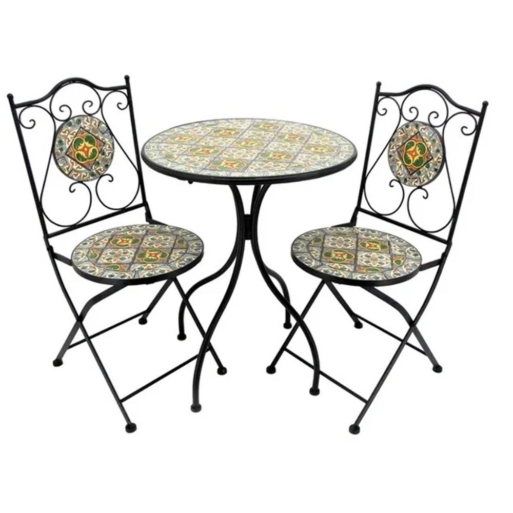 factory supply bistro sets ceramic stick mosaic outdoor table with two chairs garden furniture buy ceramic tile mosaic top metal outdoor chair and