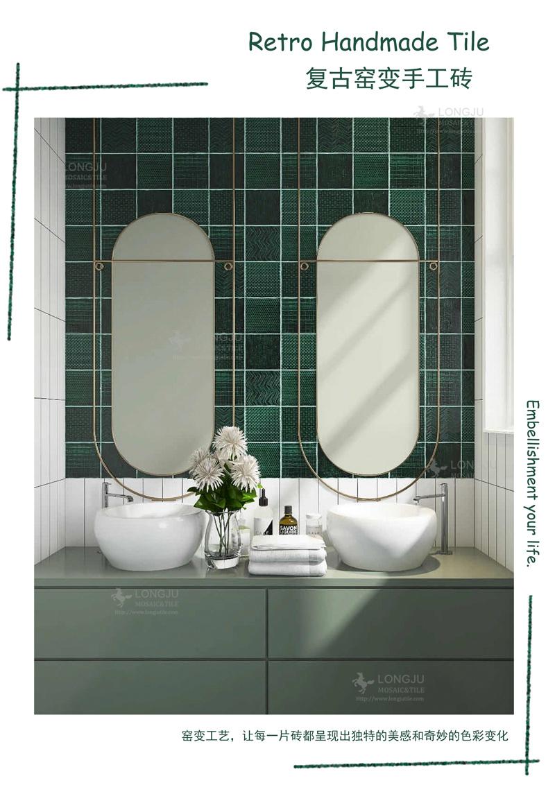 3d crackle green hand made tiles antique kitchen backsplash porcelain mosaic glazed moroccan bathroom tile design ceramic wall buy 3d tiles