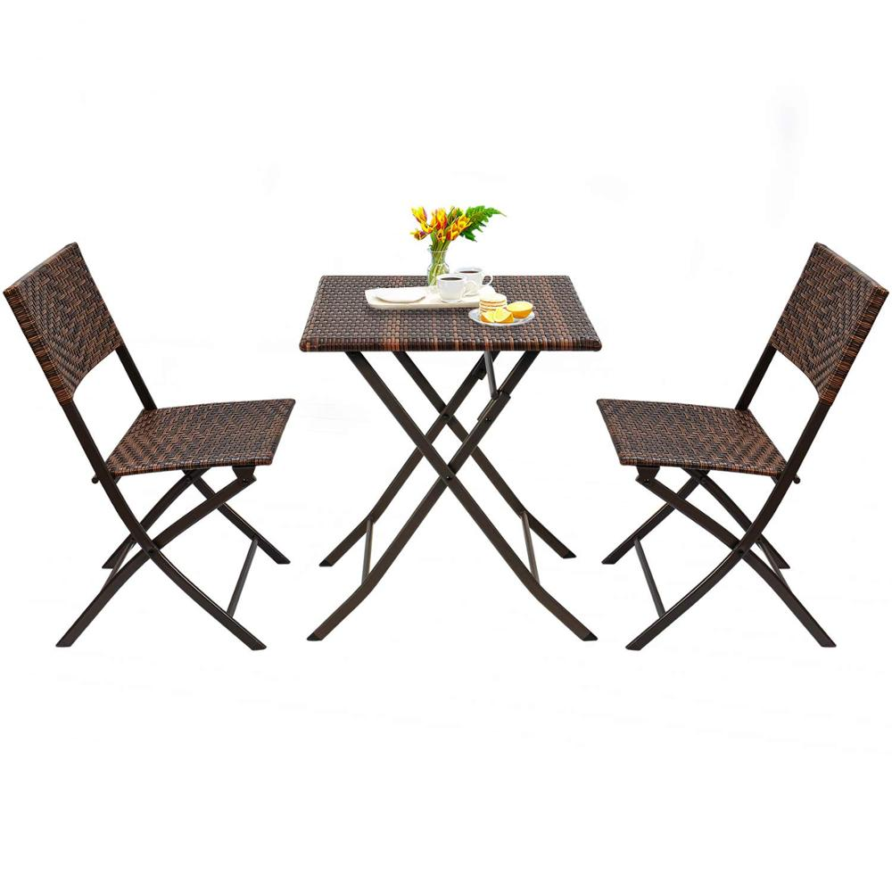 3 piece bistro set of foldable garden patio table and chairs brown wicker buy cheap bistro set garden line patio set rattan furniture product on