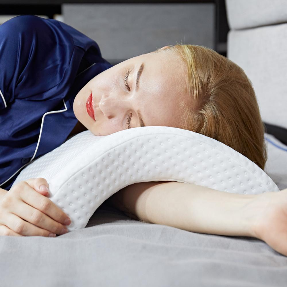 arch u shaped curved memory foam sleeping neck cervical pillow with hollow design arm rest hand pillow for couple side sleepers buy arch u shaped
