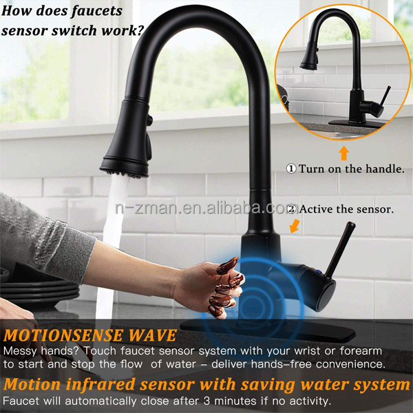 nzman motion sensor touchless hand free matte black single handle stainless steel pull out kitchen faucet buy pull out kitchen faucet motion