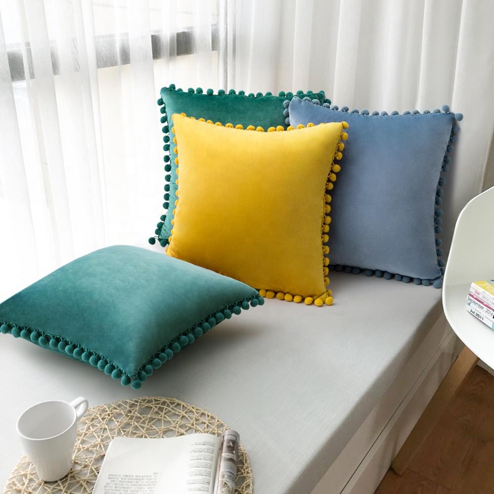 velvet cushion cover 18x18 pom pom pillow cover decorative pillows cojines decorativos buy velvet cushion cover home decor decorative pillows case velvte cojines decorativos cushion sofa product on alibaba com