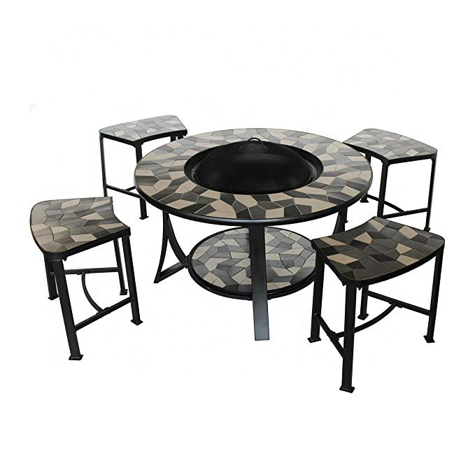 round mosaic tile convertible fire pit table with 4 coordinating stools complete patio set buy fire pit fire pit patio set mosaic fire pit product