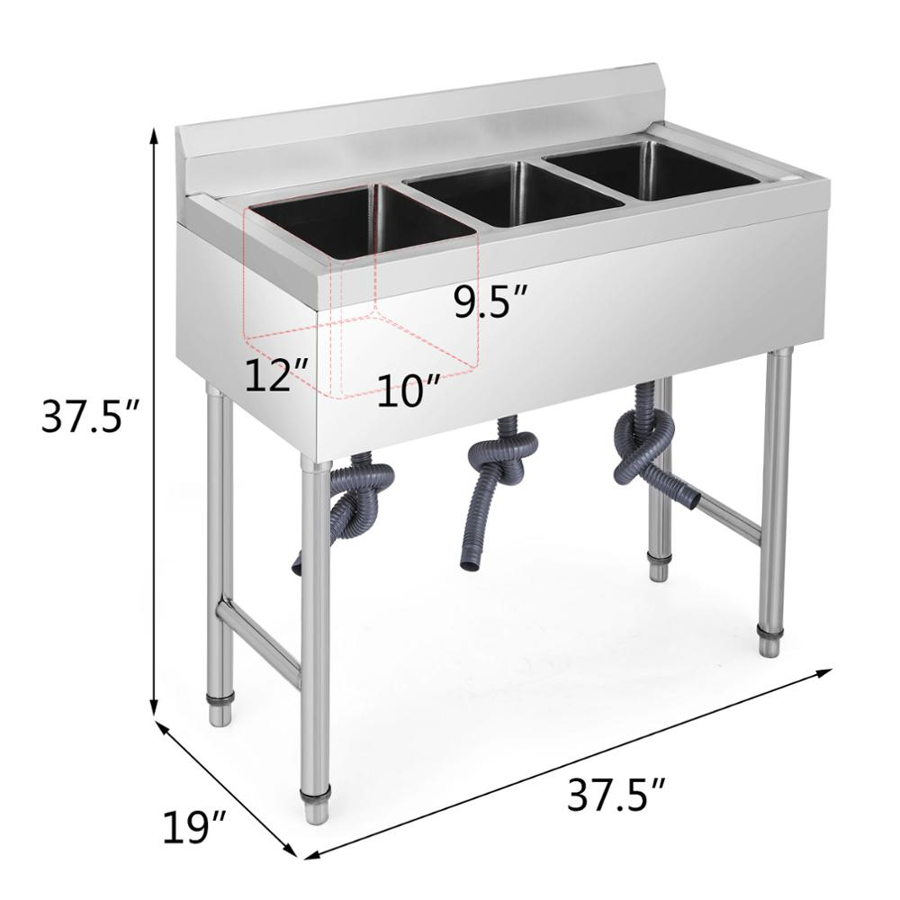 commercial 3 compartment 304 grade stainless steel kitchen sink 9 5 deep buy 3 compartment sink stainless steel sink sink stainless steel