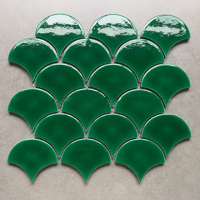 foshan green fish scale porcelain tile fan scallop ceramic wall mosaic view fish scale tile symport product details from foshan xinbotao ceramics