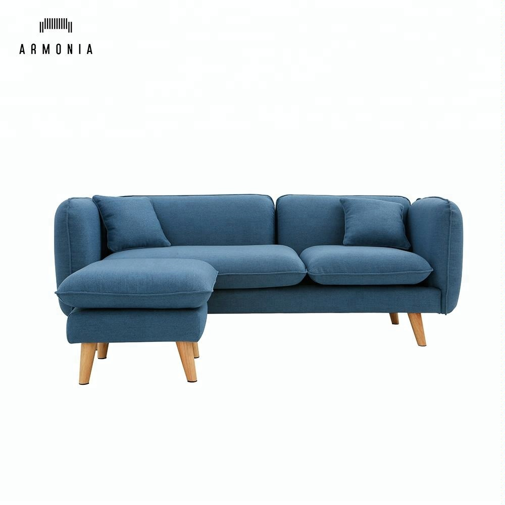 sofa set sectional corner l shape chaise lounge with stool with ottoman royal blue modern home furniture fabric buy funiture sofa home blue
