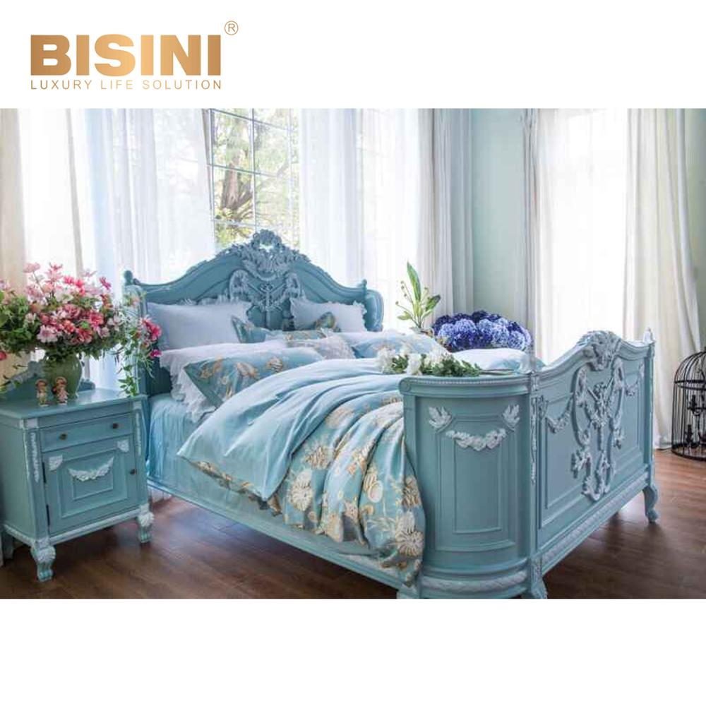romantic carving wedding king size bed