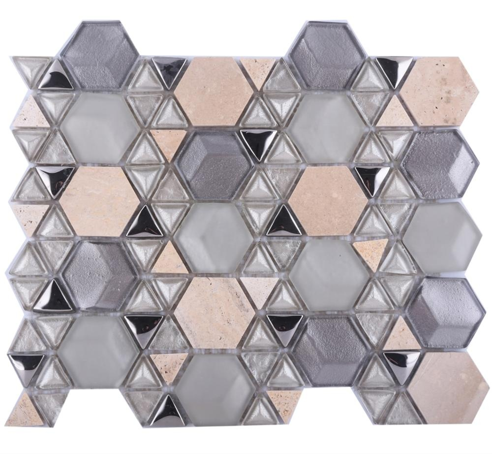 hexagon triangle star fashion design wall backsplash silver marble mix mosic tiles glass mosaic buy mosic tiles glass mosaic hexagon marbel
