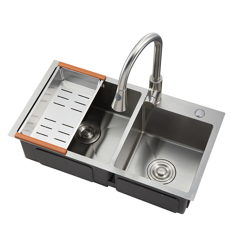 8045 standard size stainless steel double bowl corner kitchen handmade laundry sink buy double bow kitchen sink cheap kitchen sink stainless steel