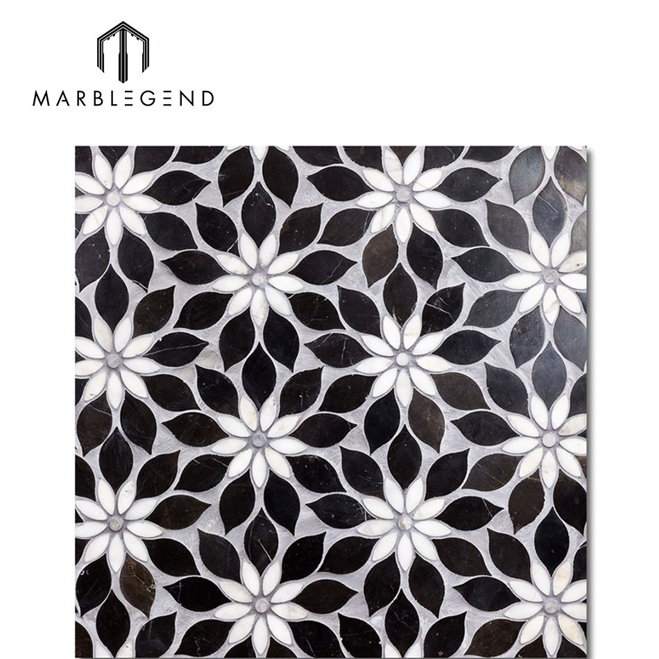interior decoration wild flower design wall tiles black marble mosaic buy marble mosaic flower mosaic tile mosaic marble product on alibaba com