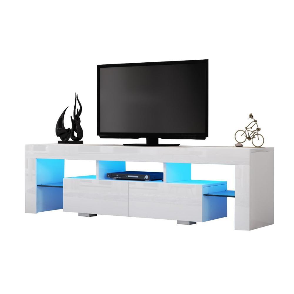 support tv en pvc brillant pour meubles de salon face mdf panneau a particules eclairage led buy meuble de television avec lumiere led supports de