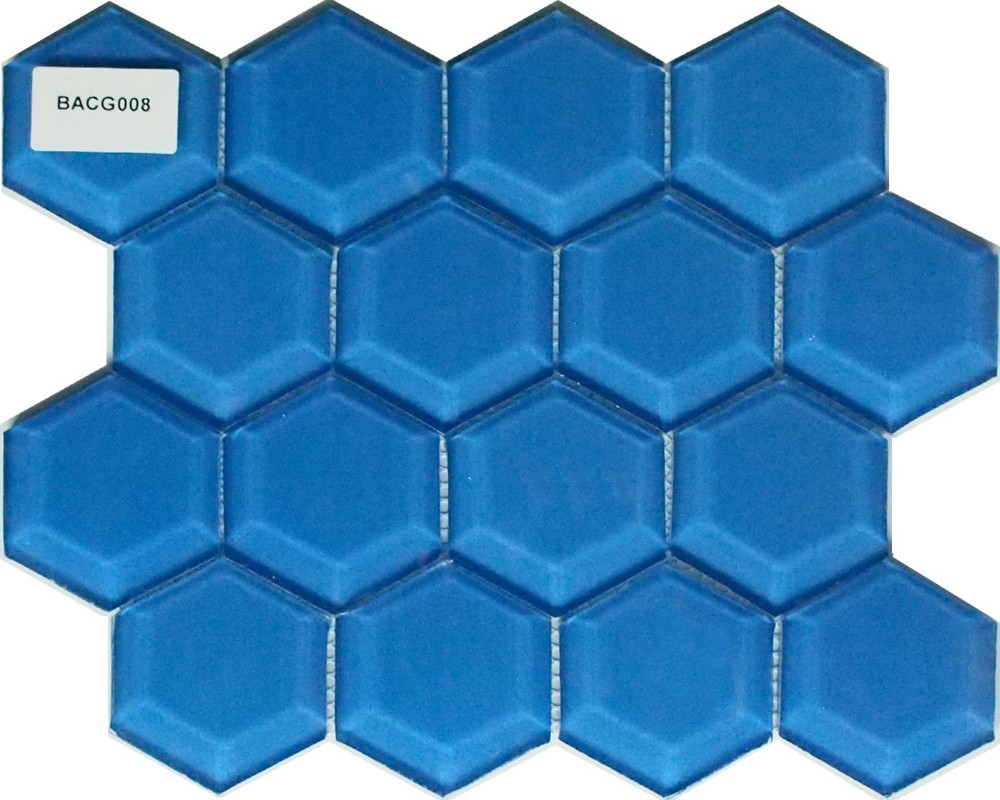 hexagon sea blue glass mosaic the water cube luxury swimming pool mosaic buy belveled glass tile subway mosaic tile convex polygon mosaic product on