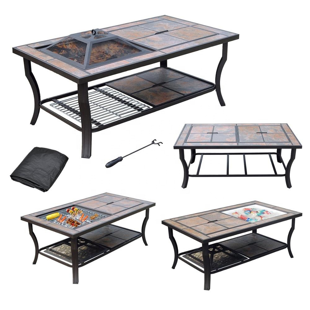 rectangular coffee table cooler fire pit and grill with ceramic tile top buy fire pit fire pit outdoor fire pit table product on alibaba com